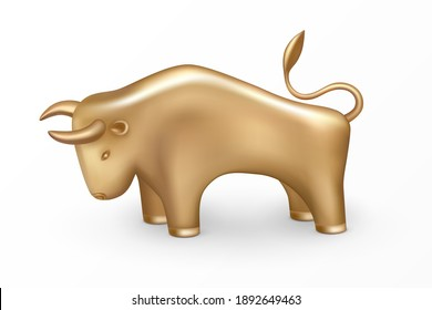 Golden Metal Bull. Symbol of the New Year 2021 on Chinese lunar calendar. 3d icon and logo. Realistic gold metallic figurine of cow or ox. Vector illustration