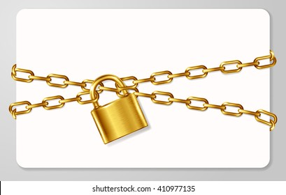 The golden metal chain and padlock, handcuffed card, vector illustration