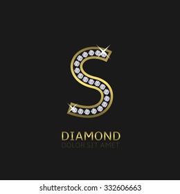 Golden metal letter S logo with diamonds. Luxury, royal, wealth, glamour symbol. Vector illustration