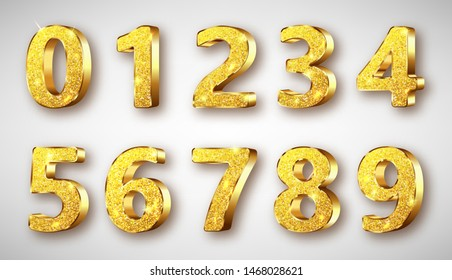 Golden metal unique numbers set with sparkles, realistic vector illustration. Glossy or shining gold metal symbols or signs from 0 to 9, isolated on white background