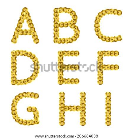 Golden Metallic Sequins Alphabet Glitter Letters Stock Vector