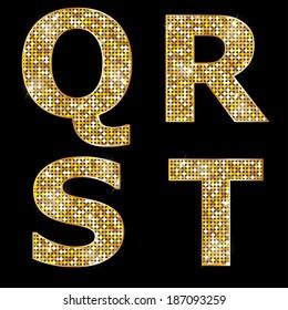 Golden metallic shiny letters Q, R, S, T