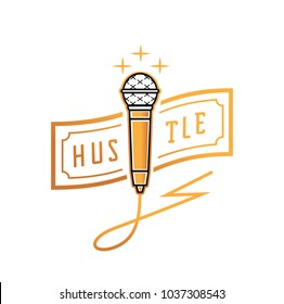 golden microphone with hustle banknote and thunderbolt wire design vector illustration
