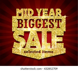 Golden Mid Year Biggest Sale concept vector banner. rich and fashion vector illustration