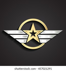 golden military star symbol with silver wings/ vector illustration