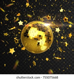 Golden mirror discoball with confetti particles and stars isolated on black background. Vector festive illustration. Nightclub or disco party decoration. Glowing sphere with falling tinsel