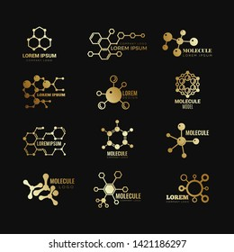 Golden molecular vector logotypes. Evolution concept formula chemistry genetic technology icons set. Golden molecular atom, chemistry research, molecule and dna scientific illustration
