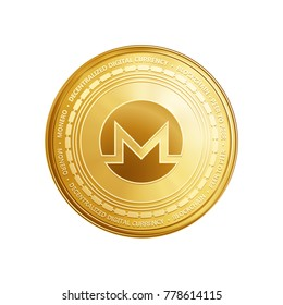 Golden Monero coin. Crypto currency blockchain coin Monero symbol isolated on trnsparent background. Realistic vector illustration.