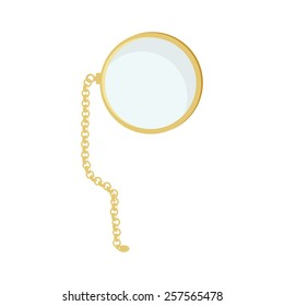Golden monocle with chain vector isolated, hipster style, retro