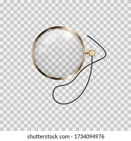 Golden monocle with lace isolated on checkered transparent background. Realistic vector illustration.