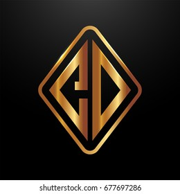 Golden monogram logo curved oval shape initial letter CD logo vector
