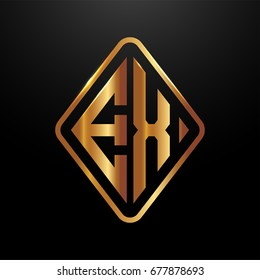 Golden monogram logo curved oval shape initial letter ex logo vector