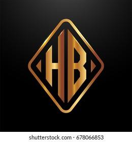 Golden monogram logo curved oval shape initial letter hb logo vector