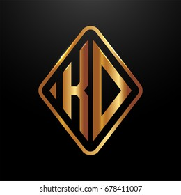 Golden monogram logo curved oval shape initial letter kd logo vector
