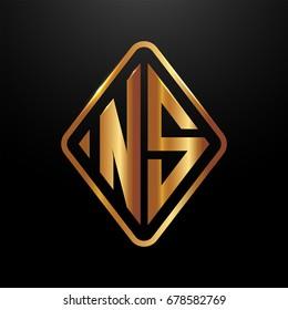 Golden monogram logo curved oval shape initial letter ns logo vector