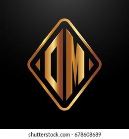 Golden monogram logo curved oval shape initial letter om logo vector