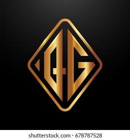 Golden monogram logo curved oval shape initial letter qg logo vector