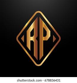 Golden monogram logo curved oval shape initial letter rp logo vector