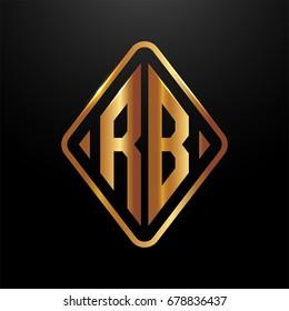 Golden monogram logo curved oval shape initial letter rb logo vector