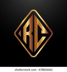 Golden monogram logo curved oval shape initial letter rc logo vector