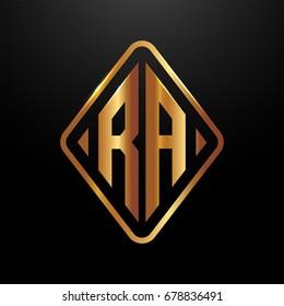 Golden monogram logo curved oval shape initial letter ra logo vector