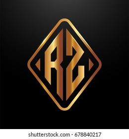 Golden monogram logo curved oval shape initial letter rz logo vector