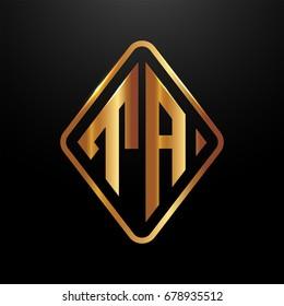 Golden monogram logo curved oval shape initial letter ta logo vector