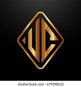 Golden monogram logo curved oval shape initial letter uc logo vector