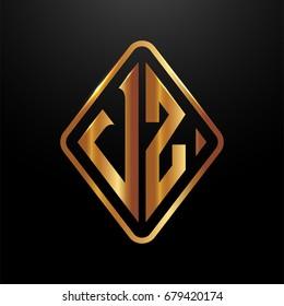 Golden monogram logo curved oval shape initial letter vz logo vector