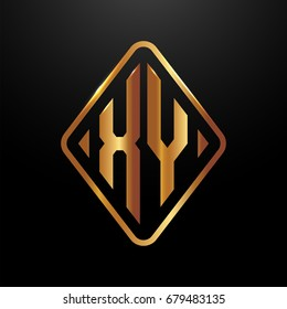 Golden monogram logo curved oval shape initial letter xy logo vector