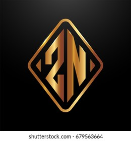 Golden monogram logo curved oval shape initial letter zn logo vector