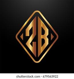 Golden monogram logo curved oval shape initial letter zb logo vector