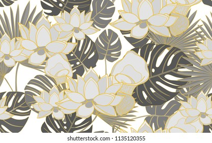 Golden monstera, palm and lotus flower. Big leaves and exotic flowers composition. Vector illustration. Botanical seamless wallpaper. Digital nature art. Cartoon style sketch. White background.