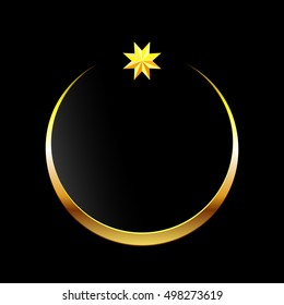 Golden moon and star . Glitter islamic golden star and crescent on black background design. Greeting card dark vector template
