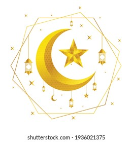 Golden Moon and star for Muslim Festival