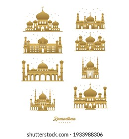 golden mosque cartoon vector illustration, Ramadan Kareem Greeting Card. Gold mosque, crescent moon, gold star on white background.