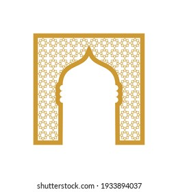 Golden Mosque Door with Islamic Ornament - Vector Flat Design Illustration : Suitable for Islamic Theme and Other Graphic Related Assets.