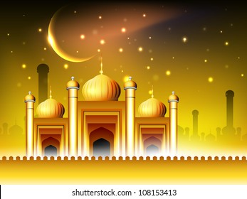 Golden Mosque or Masjid on beautiful shiny  background with moon. EPS 10.