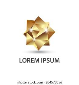Golden multifaceted geometric figure. 3D polygon logo.