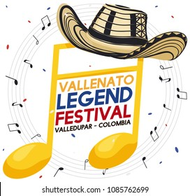 "Golden musical note with traditional Colombian ""sombrero vueltiao"" -or turned hat- under a confetti shower and musical notes for Vallenato Legend Festival."