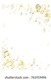 Golden musical notes flying isolated on white background. Stylish gold musical notation symphony signs, notes for sound and tune. Metallic vector symbols for melody recording, prints and back layers.