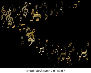 Golden musical notes flying isolated on black background. Stylish metallic musical notation symphony signs, notes for sound and music. Gold vector symbols for melody recording, prints and back layers.