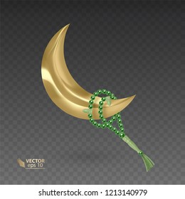 Golden, muslim month surrounded by a rosary, Realistic Prayer beads hanging on the Golden moon, vector illustration on dark background
