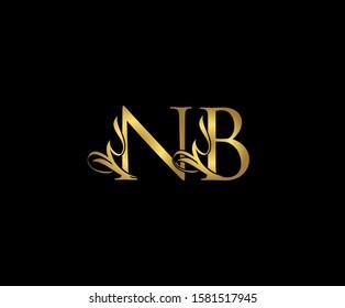 Golden N, B and NB Luxury Logo Icon, Classy Letter Logo Design.
