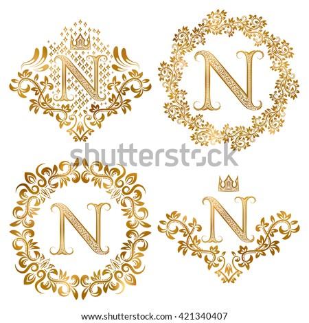 Golden N Letter Vintage Monograms Set Vector de stock (libre de ...