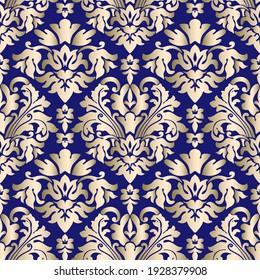 Golden and navy blue ornament seamless pattern. Flower pattern. Baroque wallpaper. Damascus