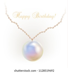Golden necklace with an opal pendant and Happy Birthday wording, isolated on a white background. Vector illustration