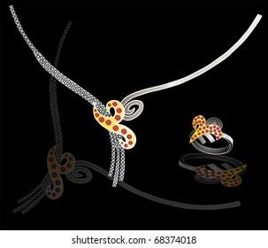 golden necklace & pendant