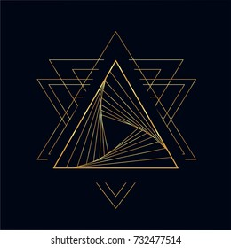 Golden neon vector line art sketch the fire triangle tattoo with elements of minimalism geometric waves and strings. Vector image on dark background.