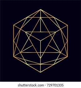 Golden neon vector sketch of a tattoo set geometric shape, triangle in polygonal. Line art, line shape, tattoo design, vector illustration and seamless pattern.